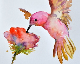 ORIGINAL Watercolor Bird Painting, Flying Hummingbird with Pink Flower 6x8 Inch