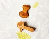 Barista Coffee Brooch Set - Portafilter & Tamper - Illustrated Indie Design - Laser Cut from Cherry Timber