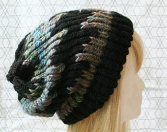 Beanie - black bead, alpaca wool