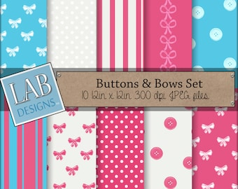 Buttons and Bows Digital Papers Pink and Blue Bow Tie Stripes Dots Background textures Instant Download Scrapbooking Papers for Personal Use