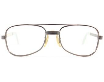 70s Vintage Aviator Glasses | Gunmetal Silver Eyeglass Frame | 1970s NOS Eyeglasses | Deadstock Eyewear - Traveler