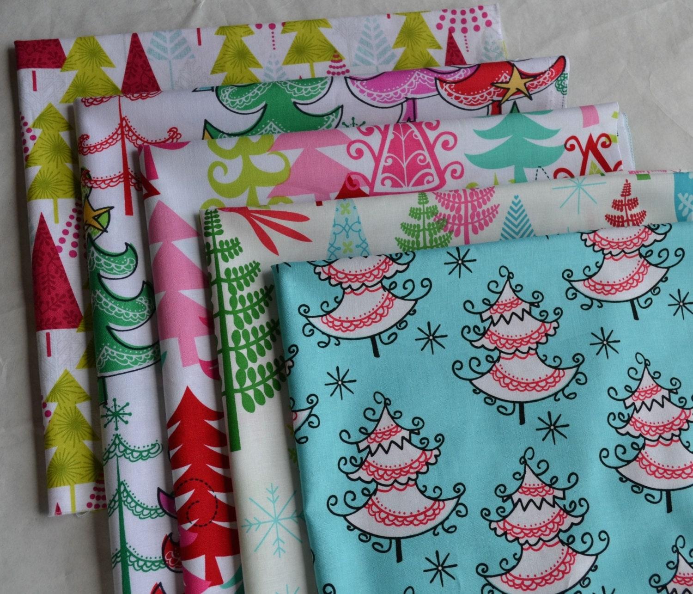 Thread Christmas Tree: Christmas Tree Fabric Bundle/5 Fat Quarters/Cotton Sewing