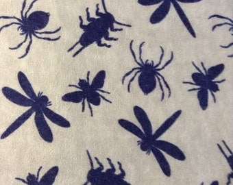 SALE - One Half Yard of Fabric - Insect Silhouettes - FLANNEL