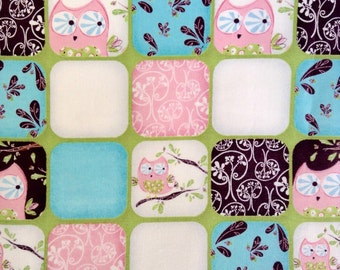 SALE - Half Yard Fabric Material - Hoot, Hoot Collage