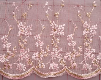 "5"" Embroidered Floral Tulle Lace Trim - Baby Pink, White & Shiny Gold Dogwood Flowers and a Scalloped Edge"