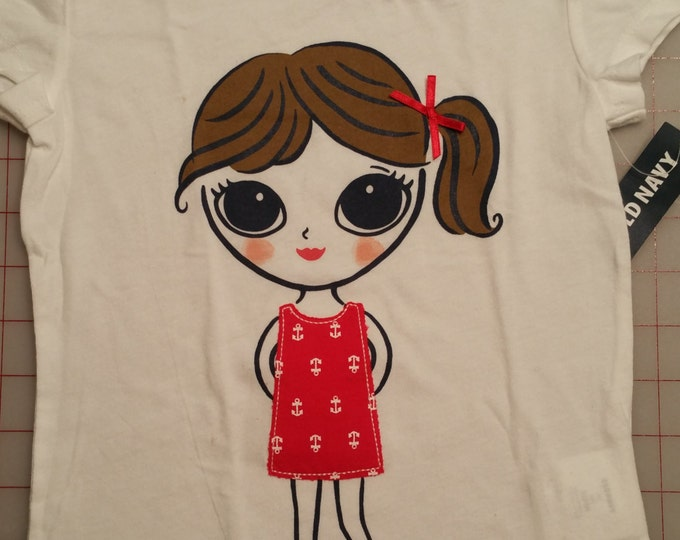 Little Nautical Girl Tee - Girls - Size 4T - Great for Upcycle - New