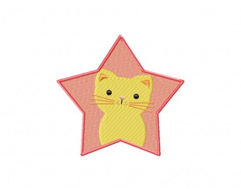 INSTANT DOWNLOAD Kitty Star Machine Embroidery Design