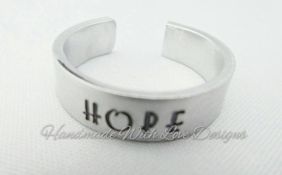 Hope Hand Stamped Cuff Ring