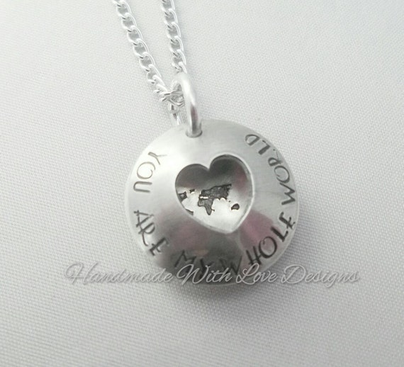 World clamshell heart Hand stamped necklace