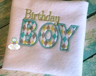Birthday Boy Embroidered Shirt or Bodysuit