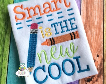 Smart is the New Cool School Shirt, First day of School, Back to School, School Shirt, Glasses shirt, Smarty pants shirt