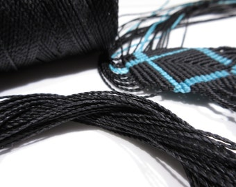 Black Waxed Polyester Cord 25ft pack  = 8.33 yards = 7,6 meters Linhasita Thread Brand #Preto