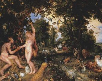 Adam and Eve in Worthy Paradise PDF Cross Stitch Pattern
