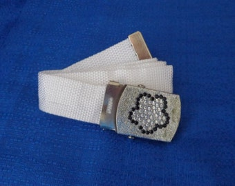 Sale White Web Belt with Flower Rhinestone Buckle Ladies White Canvas Belt