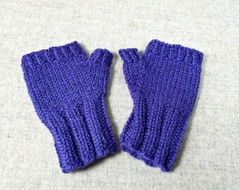 Organic Fingerless Gloves for Babies and Toddlers, fuchsia, purple, 7 to 18 Months, pure Wool, Handknitted Wrist Warmers, Mittens