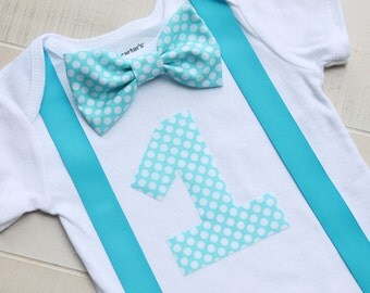 Bow Tie Birthday Outfit, Blue Birthday Outfit, First Birthday Boy Outfit