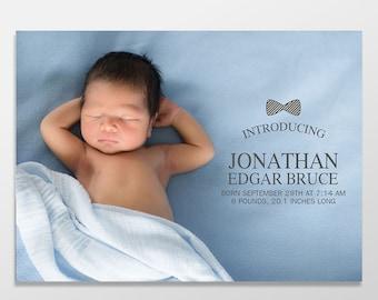 Custom Digital Baby Boy Photo Birth Announcements - Newborn Announcement - PRINTABLE or PRINTED - Bow Tie Baby Announcement