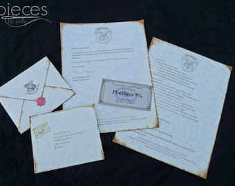 Personalized Hogwarts Acceptance Letter - Regular & Late Letter Option - Harry Potter Letter -Harry Potter Gift - Hermione - Ron - Draco