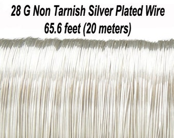 28 Gauge (0,315 mm), Non Tarnish Silver Plated Copper Wire, Round, 65.6 feet (20 meters), Made in UK