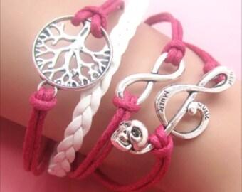 Infinity bracelet skull music note tree of life
