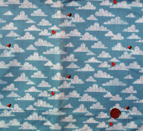 Fabric children 39 s novelty fabric bird in the clouds on for Kids novelty fabric