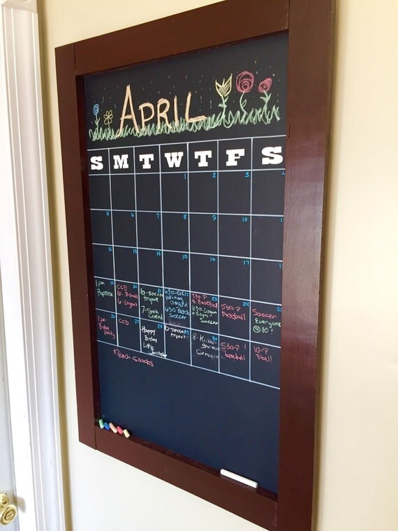 framed chalkboard calendar by thesophiecollection on etsy