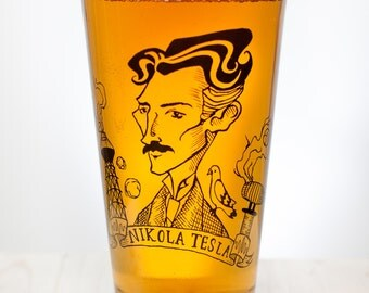 Nikola Tesla Beer Glass | Pint Glass, Genius, Scientist, Physics, gift for him, Gift for her, inventor birthday gift teacher gift graduation