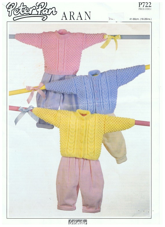 Baby Knitting Pattern sweater or cardigan to fit chest sizes