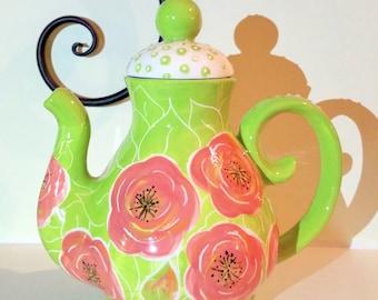 Handpainted ' peony rose' ,  ceramic teapot,