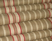 """Antique Vintage Stair Runner hemp fabric per ONE METER / = 1 yd 3 in  3/8 in """" length,  red woven STRIPES """" old Germany, ca 1900"""