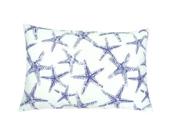 Cushion cover 40 x 60 cm white blue Starfish linen look