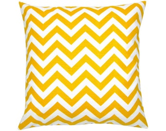 Pillow case CHEVRON yellow white stripe linen look 60 x 60 zigzag graphically