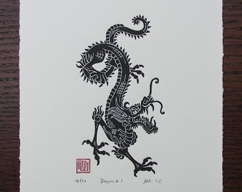 Year of the Dragon Linocut Print // Handmade // Limited Edition