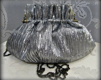 Silver crossbody, Formal purse, Vintage purse, Evening Bag, Coin purse, Pleated purse, Silver shoulder bag