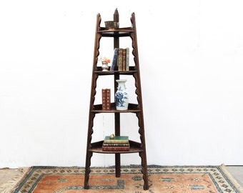 English Four Tiered Corner Shelf