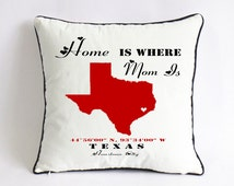 home is where mom is pillowcase-custom gift for mom-unique mothers day gift-mom living state cushion-gift for mom birthday from daughter