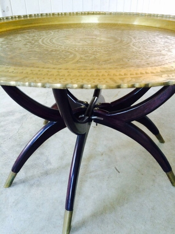 Vintage Mid Century Round Brass Coffee Table With Folding