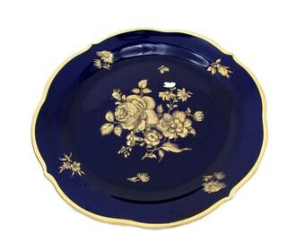 Lindner Dessert Plate Echt Cobalt Blue Gold Rose Floral Bouquet Flowers Kueps Bavaria Germany