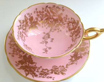 Luscious Pink Tea Cup and Saucer, Coalport Tea Cups and Saucers, Tea Set, English Bone China Tea Cups, Antique Teacups, Teacups and Saucers