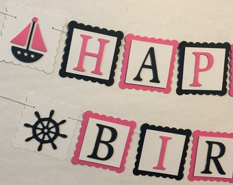 Happy Birthday Banner, Party Decorations, Nautical Theme Birthday Party, Sailboat Theme