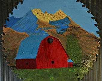 Barn and Mountain Painting // Saw Blade Art // Unique Art