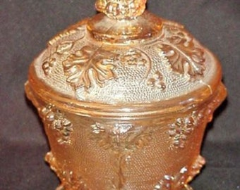 Vintage-Gold-Iridescent-Carnival-Glass-Grape-Leaf-Design-Candy-Dish