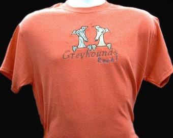 19SS Embroidered Greyhound T shirt - Greyhounds Rock!