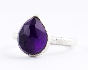 Pear Shape Amethyst Ring - Teardrop Amethyst Ring - Stacking Ring - Vermeil Gold K18  - Pleiades Romance