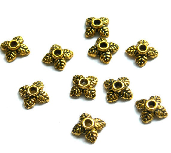 20 antique gold plated metal bead cap jewelry findings