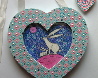 White Hares in a hanging heart shaped frame