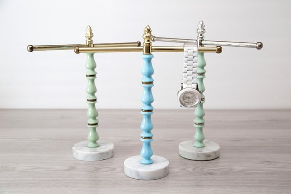 Vintage 2 arm vanity towel holder jewelry holder with marble for Sawyer marble jewelry stand