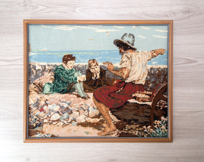 "Vintage Cross Stitch Artwork / ""The Boyhood of Raleigh"" Nautical Beach Theme / WM Briggs and Co. Made in England Framed Men on Beach"
