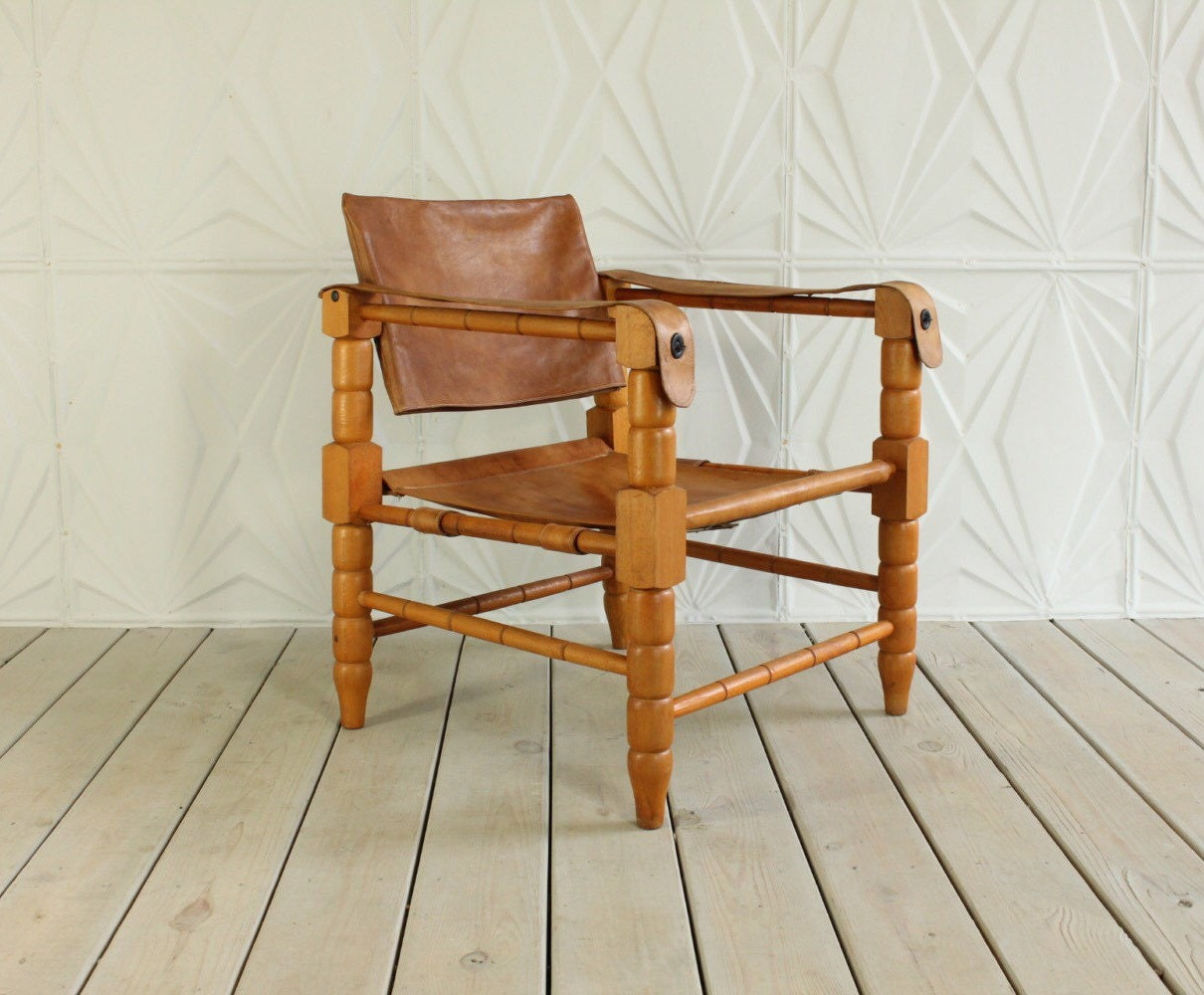 brown leather safari sling chair arne norell by retrospeclist