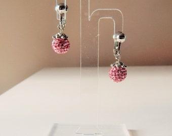 CLIP ON PINK Sparkling Premium Shamballa Earrings